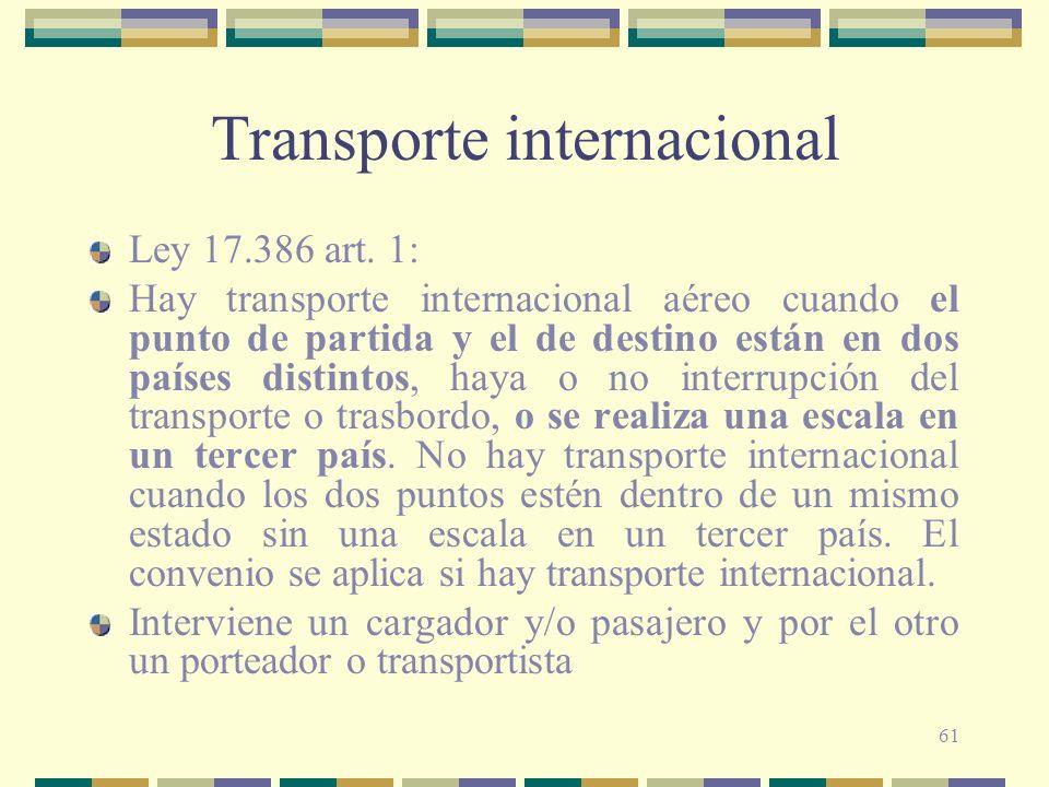 61 Transporte internacional Ley 17.386 art. 1: Hay transporte internacional aéreo cuando el punto de partida y el de destino están en dos países disti
