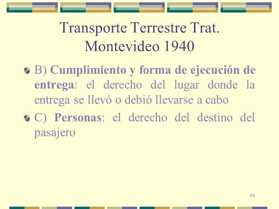 66 Transporte Terrestre Trat. Montevideo 1940 B) Cumplimiento y forma de ejecución de entrega: el derecho del lugar donde la entrega se llevó o debió