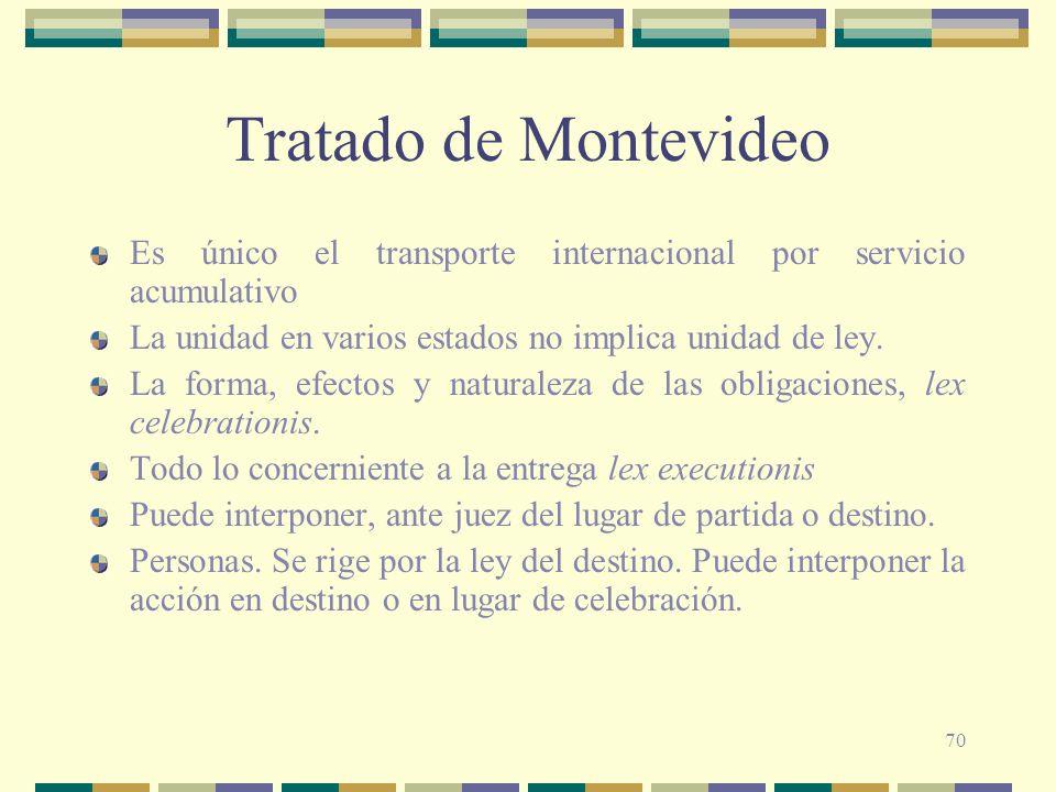 70 Tratado de Montevideo Es único el transporte internacional por servicio acumulativo La unidad en varios estados no implica unidad de ley. La forma,