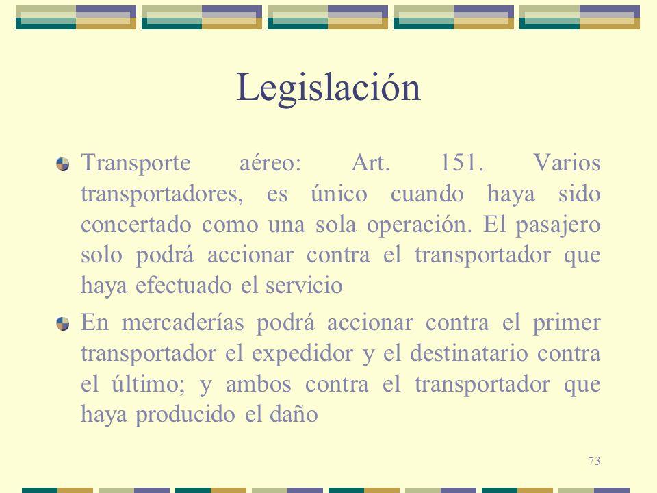 73 Legislación Transporte aéreo: Art. 151. Varios transportadores, es único cuando haya sido concertado como una sola operación. El pasajero solo podr