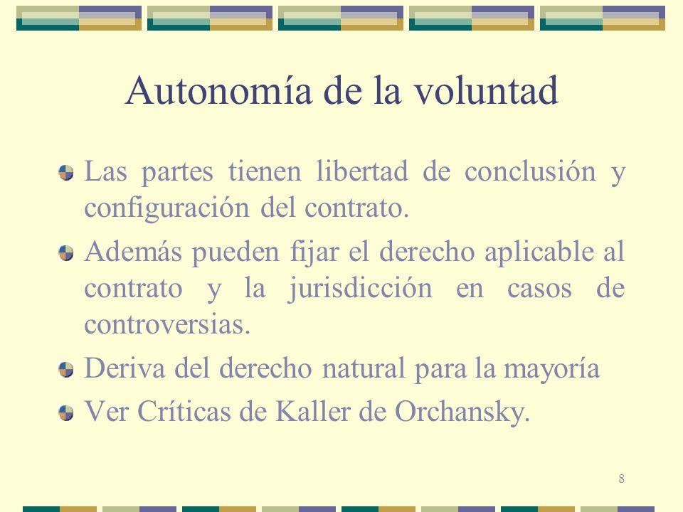 8 Autonomía de la voluntad Las partes tienen libertad de conclusión y configuración del contrato. Además pueden fijar el derecho aplicable al contrato