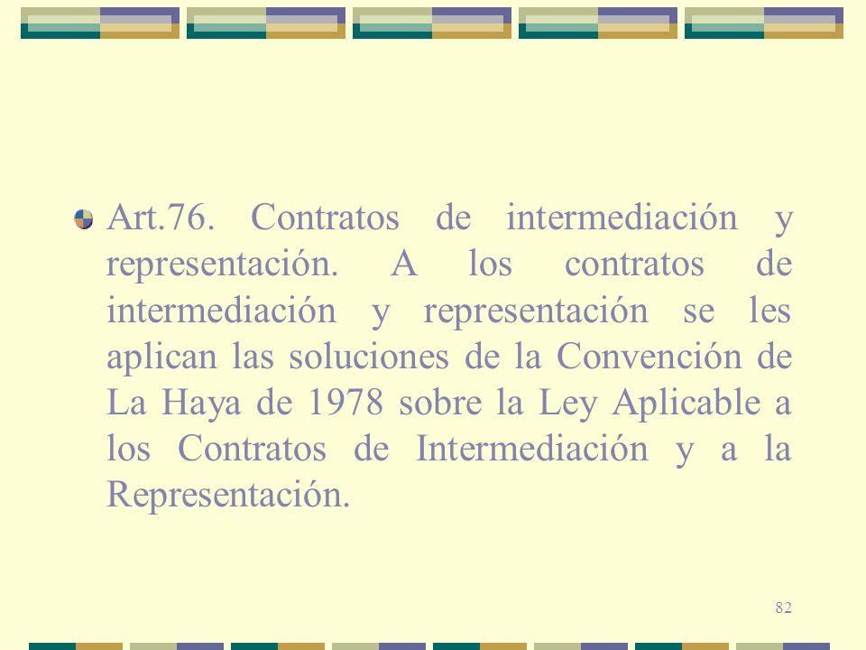 82 Art.76. Contratos de intermediación y representación. A los contratos de intermediación y representación se les aplican las soluciones de la Conven