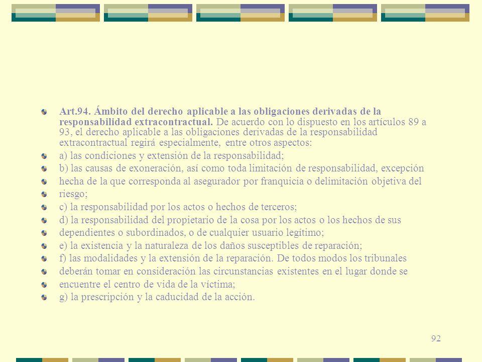 92 Art.94. Ámbito del derecho aplicable a las obligaciones derivadas de la responsabilidad extracontractual. De acuerdo con lo dispuesto en los artícu
