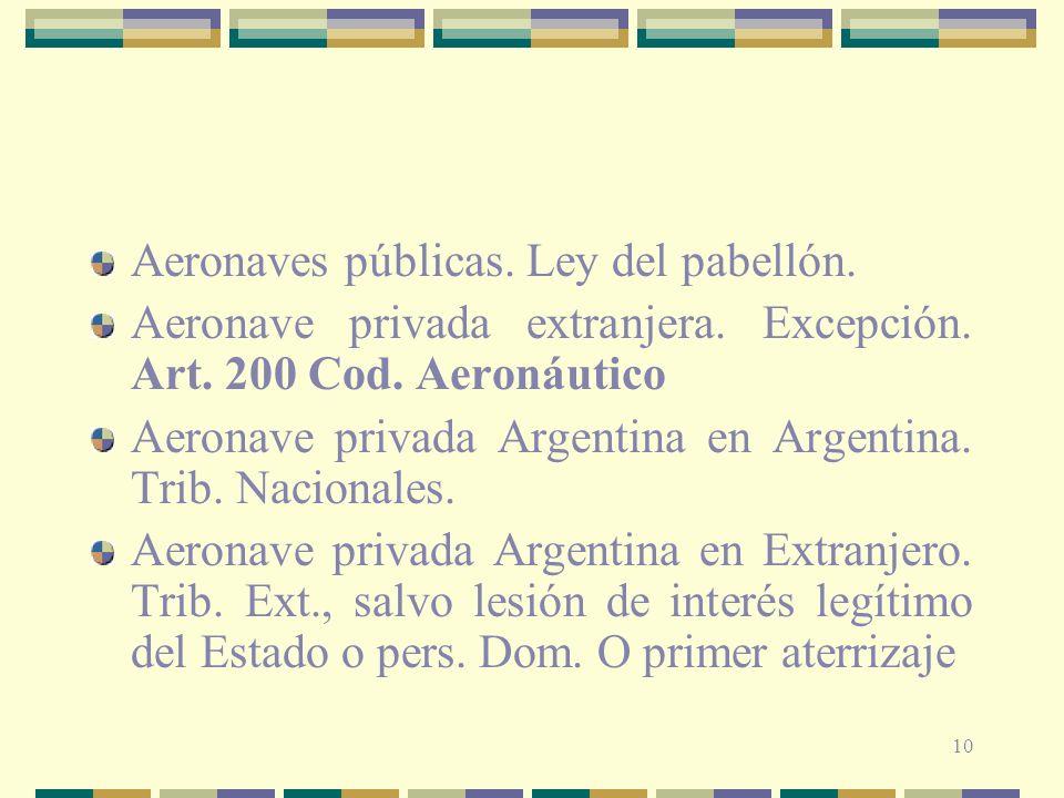 10 Aeronaves públicas. Ley del pabellón. Aeronave privada extranjera. Excepción. Art. 200 Cod. Aeronáutico Aeronave privada Argentina en Argentina. Tr