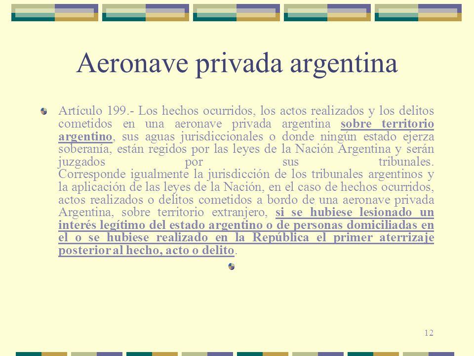 12 Aeronave privada argentina Artículo 199.- Los hechos ocurridos, los actos realizados y los delitos cometidos en una aeronave privada argentina sobr