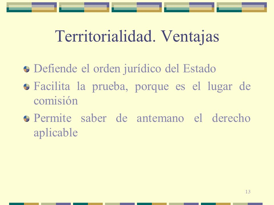 13 Territorialidad. Ventajas Defiende el orden jurídico del Estado Facilita la prueba, porque es el lugar de comisión Permite saber de antemano el der