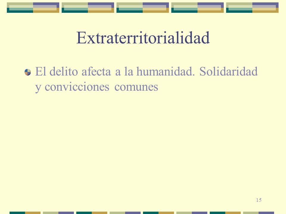 15 Extraterritorialidad El delito afecta a la humanidad. Solidaridad y convicciones comunes