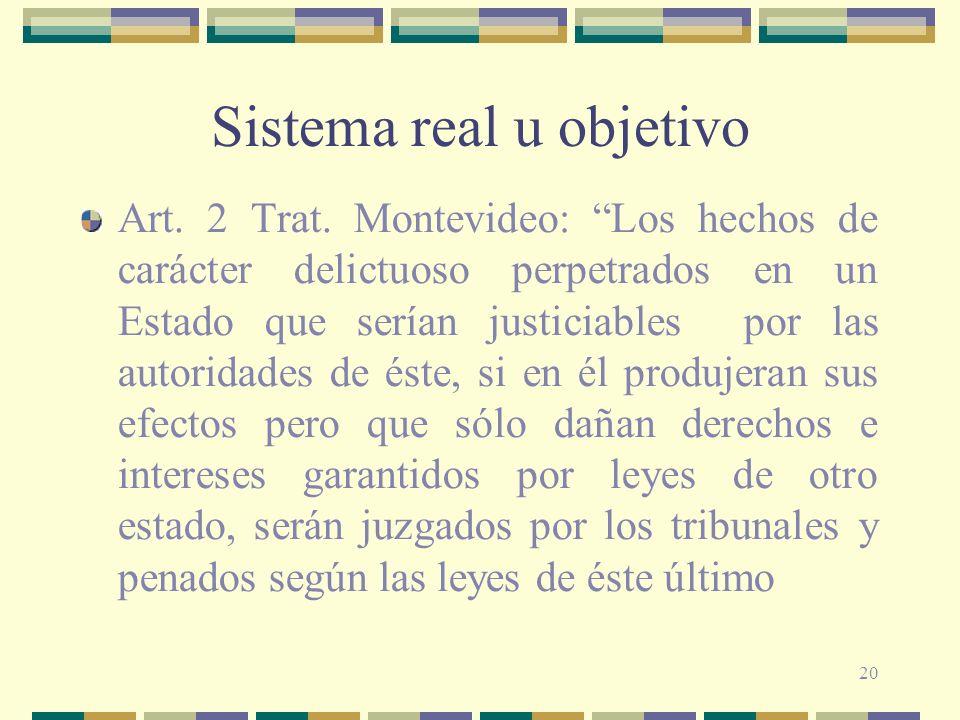 20 Sistema real u objetivo Art. 2 Trat. Montevideo: Los hechos de carácter delictuoso perpetrados en un Estado que serían justiciables por las autorid