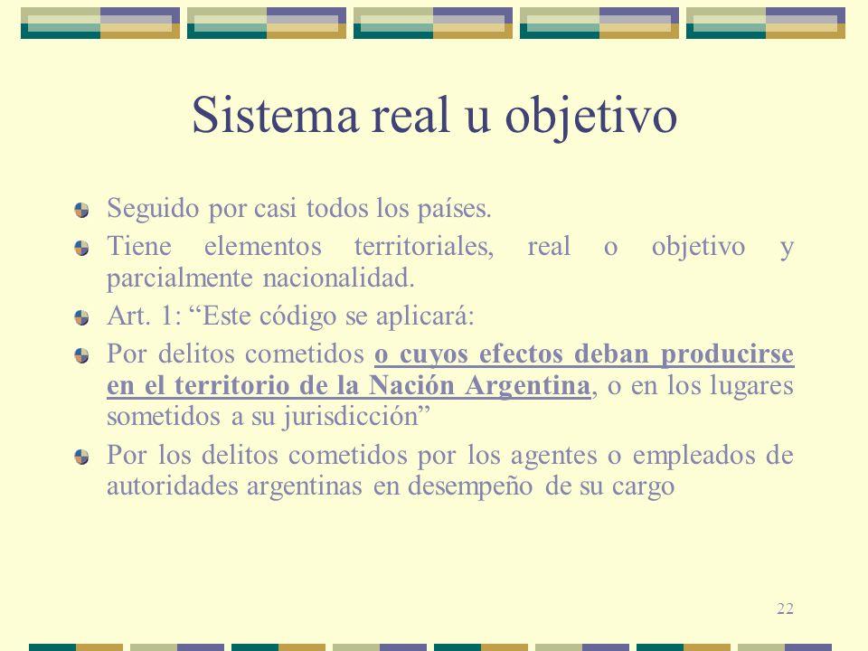 22 Sistema real u objetivo Seguido por casi todos los países. Tiene elementos territoriales, real o objetivo y parcialmente nacionalidad. Art. 1: Este