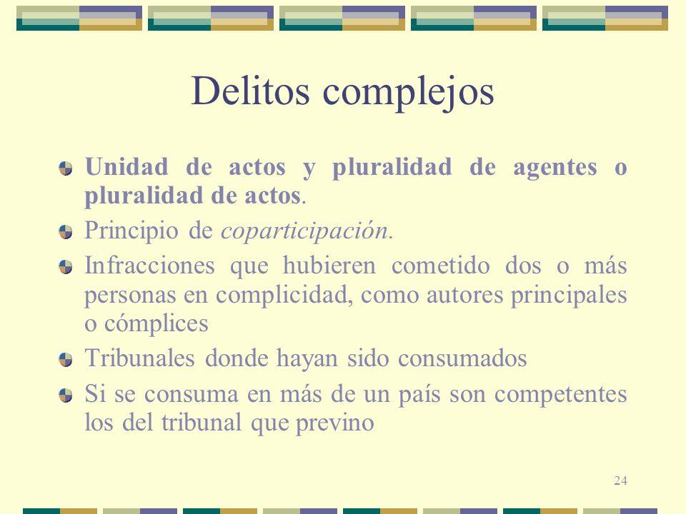 24 Delitos complejos Unidad de actos y pluralidad de agentes o pluralidad de actos. Principio de coparticipación. Infracciones que hubieren cometido d