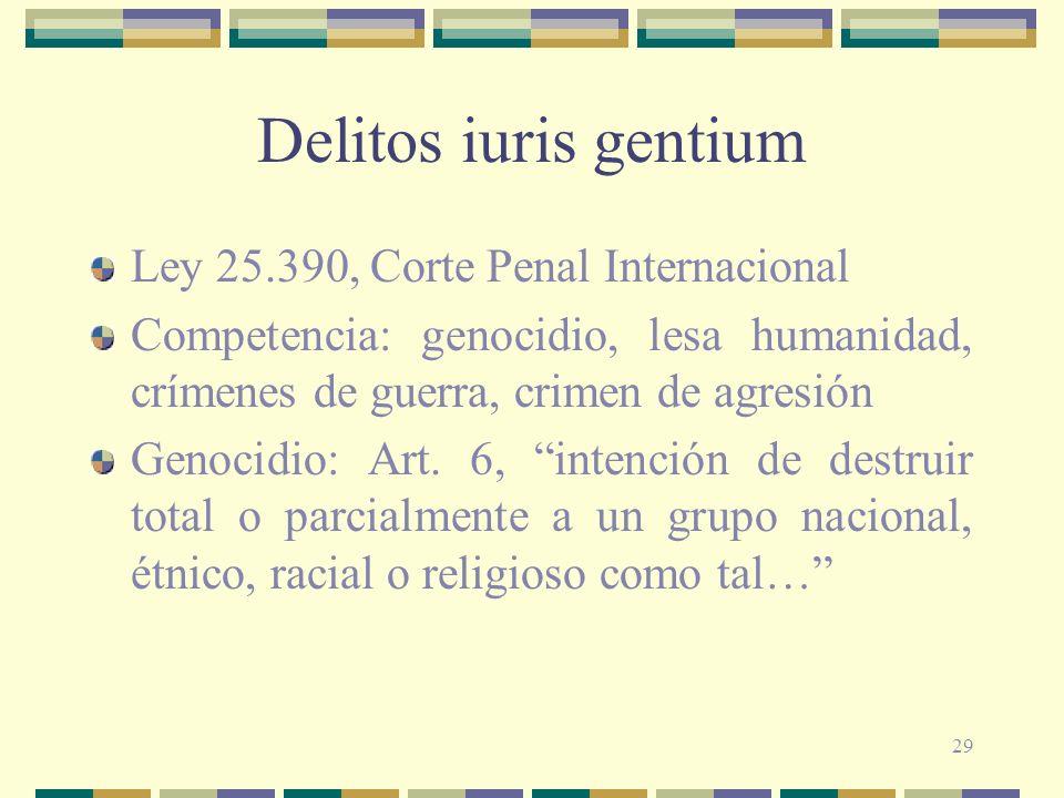 29 Delitos iuris gentium Ley 25.390, Corte Penal Internacional Competencia: genocidio, lesa humanidad, crímenes de guerra, crimen de agresión Genocidi