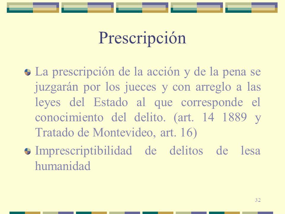 32 Prescripción La prescripción de la acción y de la pena se juzgarán por los jueces y con arreglo a las leyes del Estado al que corresponde el conoci
