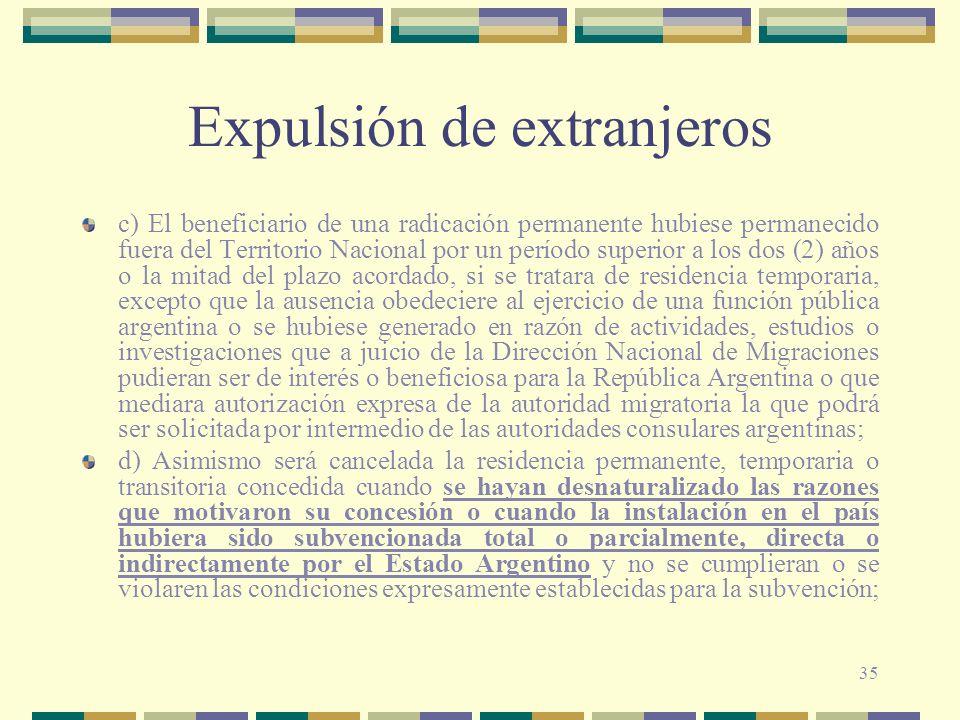 35 Expulsión de extranjeros c) El beneficiario de una radicación permanente hubiese permanecido fuera del Territorio Nacional por un período superior