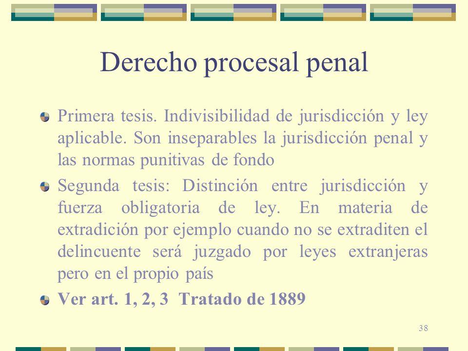 38 Derecho procesal penal Primera tesis. Indivisibilidad de jurisdicción y ley aplicable. Son inseparables la jurisdicción penal y las normas punitiva