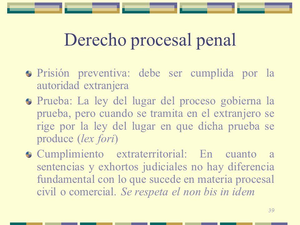 39 Derecho procesal penal Prisión preventiva: debe ser cumplida por la autoridad extranjera Prueba: La ley del lugar del proceso gobierna la prueba, p