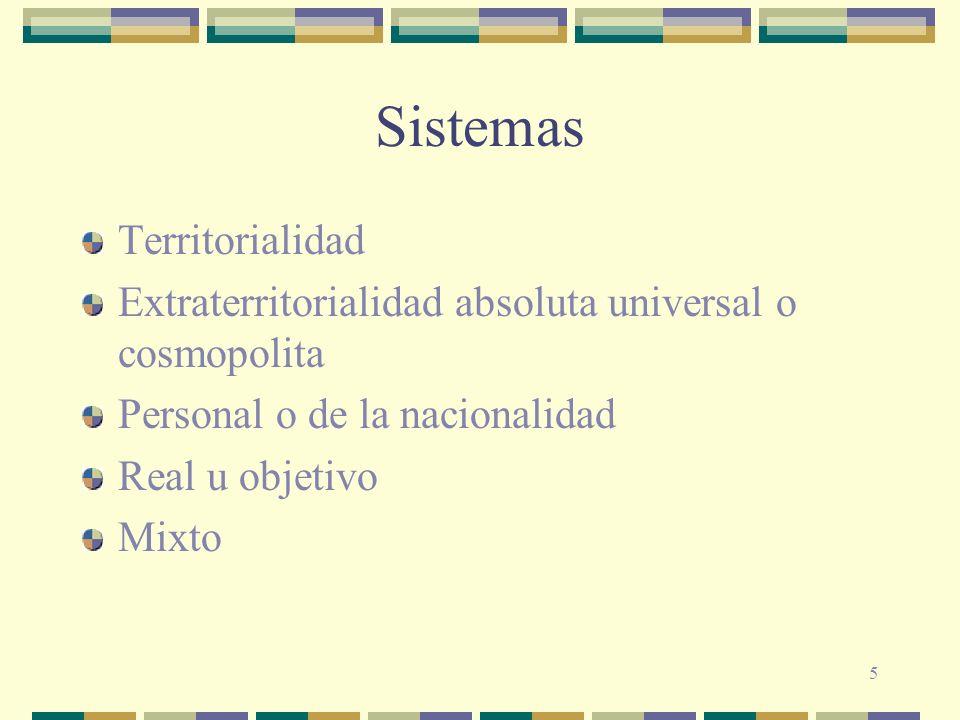 5 Sistemas Territorialidad Extraterritorialidad absoluta universal o cosmopolita Personal o de la nacionalidad Real u objetivo Mixto