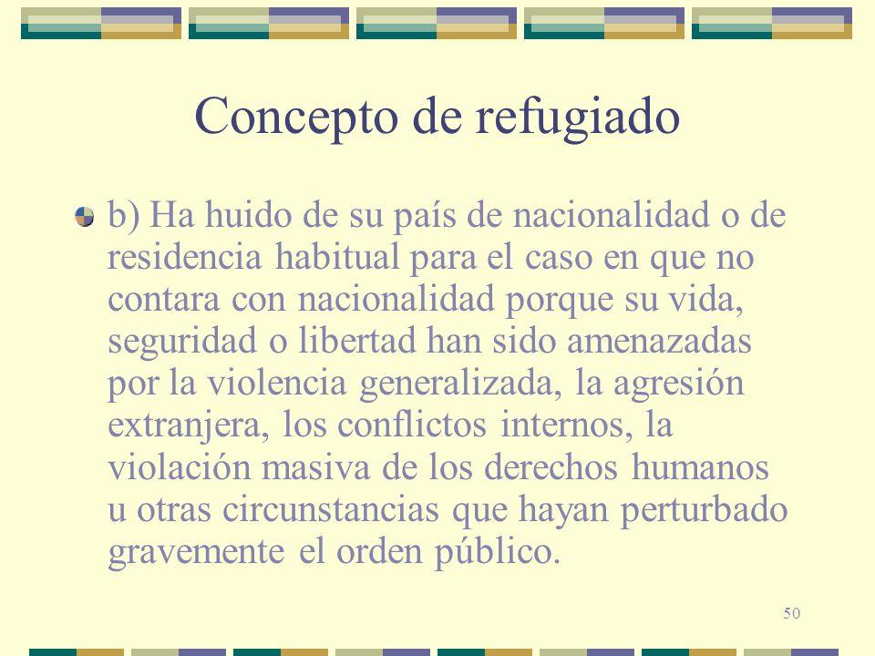 50 Concepto de refugiado b) Ha huido de su país de nacionalidad o de residencia habitual para el caso en que no contara con nacionalidad porque su vid