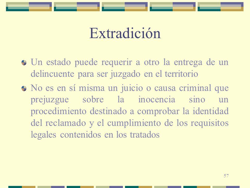57 Extradición Un estado puede requerir a otro la entrega de un delincuente para ser juzgado en el territorio No es en sí misma un juicio o causa crim