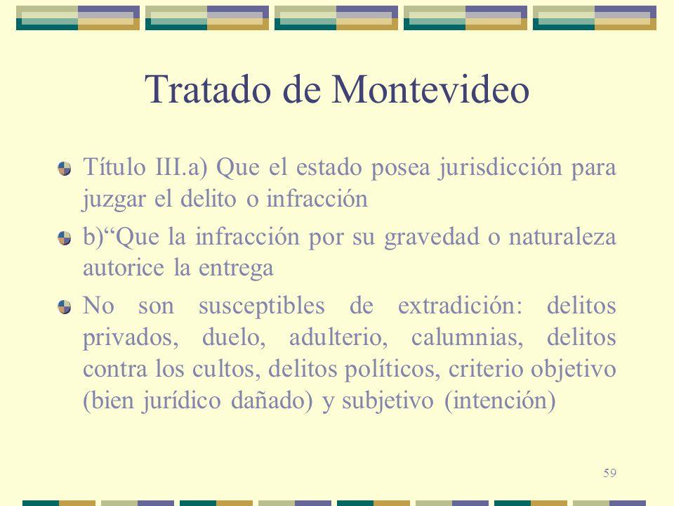 59 Tratado de Montevideo Título III.a) Que el estado posea jurisdicción para juzgar el delito o infracción b)Que la infracción por su gravedad o natur