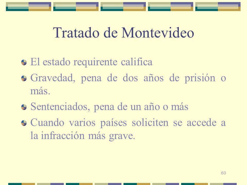 60 Tratado de Montevideo El estado requirente califica Gravedad, pena de dos años de prisión o más. Sentenciados, pena de un año o más Cuando varios p