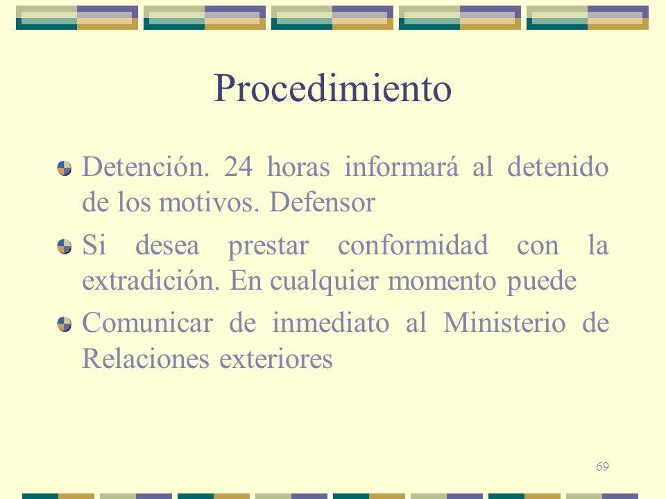 69 Procedimiento Detención. 24 horas informará al detenido de los motivos. Defensor Si desea prestar conformidad con la extradición. En cualquier mome