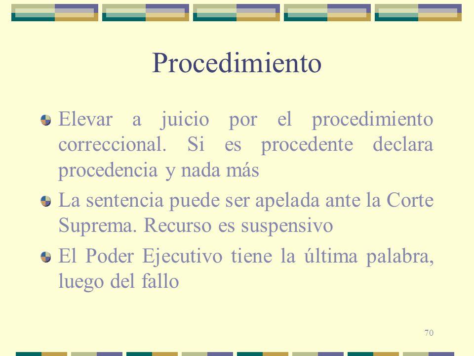 70 Procedimiento Elevar a juicio por el procedimiento correccional. Si es procedente declara procedencia y nada más La sentencia puede ser apelada ant