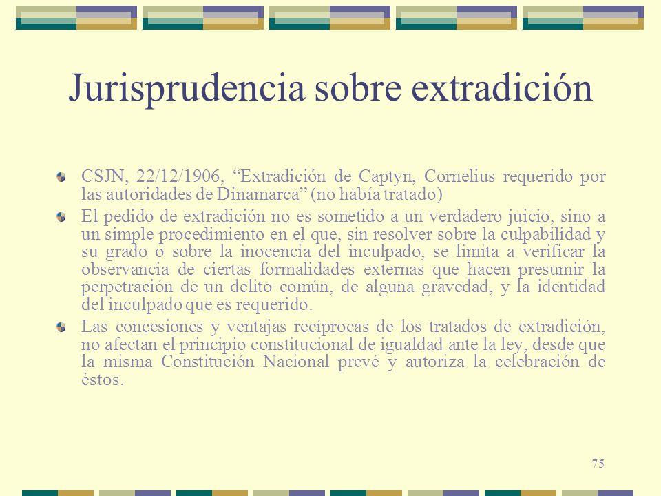 75 Jurisprudencia sobre extradición CSJN, 22/12/1906, Extradición de Captyn, Cornelius requerido por las autoridades de Dinamarca (no había tratado) E