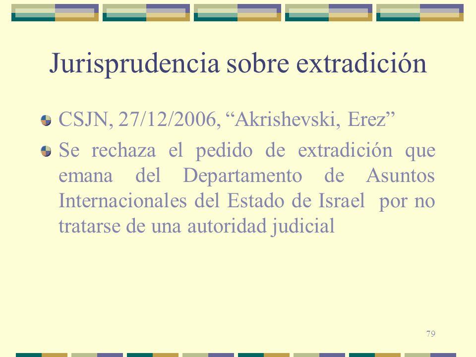 79 Jurisprudencia sobre extradición CSJN, 27/12/2006, Akrishevski, Erez Se rechaza el pedido de extradición que emana del Departamento de Asuntos Inte