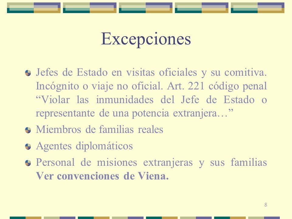8 Excepciones Jefes de Estado en visitas oficiales y su comitiva. Incógnito o viaje no oficial. Art. 221 código penal Violar las inmunidades del Jefe