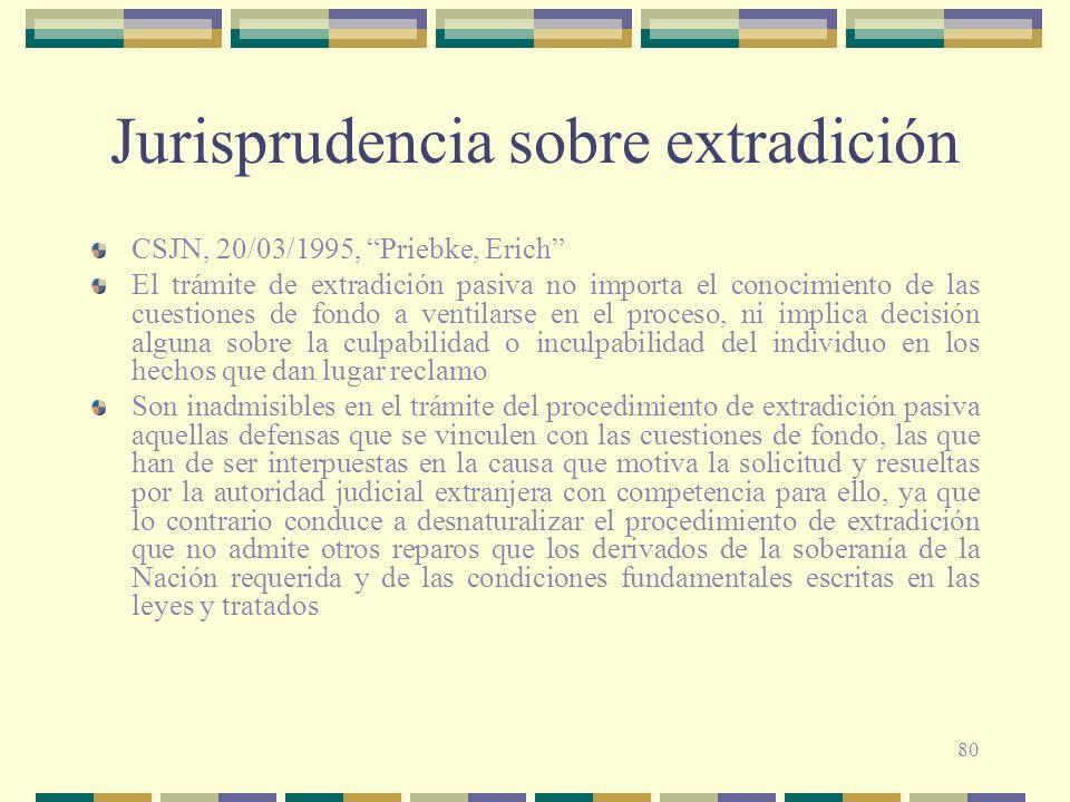 80 Jurisprudencia sobre extradición CSJN, 20/03/1995, Priebke, Erich El trámite de extradición pasiva no importa el conocimiento de las cuestiones de