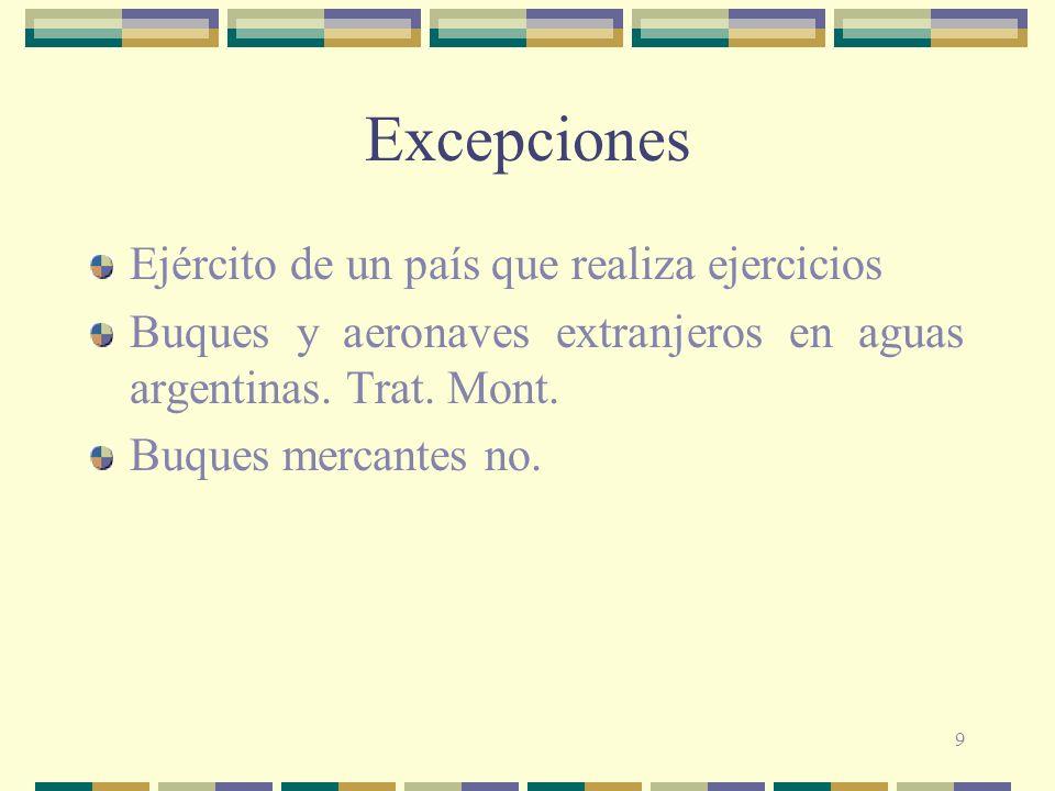 9 Excepciones Ejército de un país que realiza ejercicios Buques y aeronaves extranjeros en aguas argentinas. Trat. Mont. Buques mercantes no.