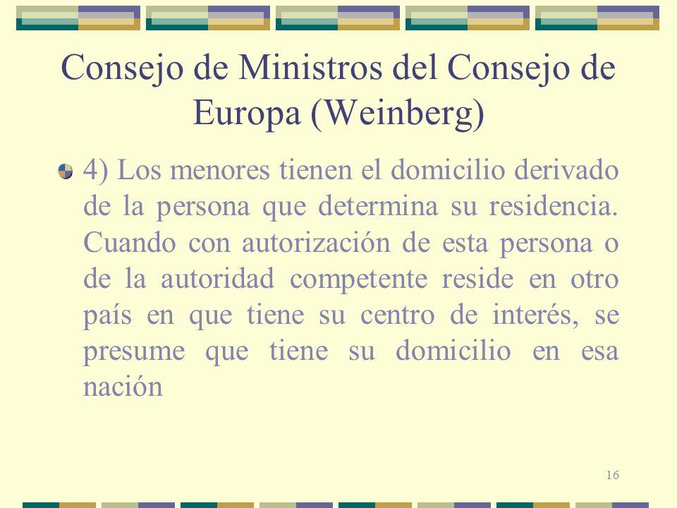 16 Consejo de Ministros del Consejo de Europa (Weinberg) 4) Los menores tienen el domicilio derivado de la persona que determina su residencia.