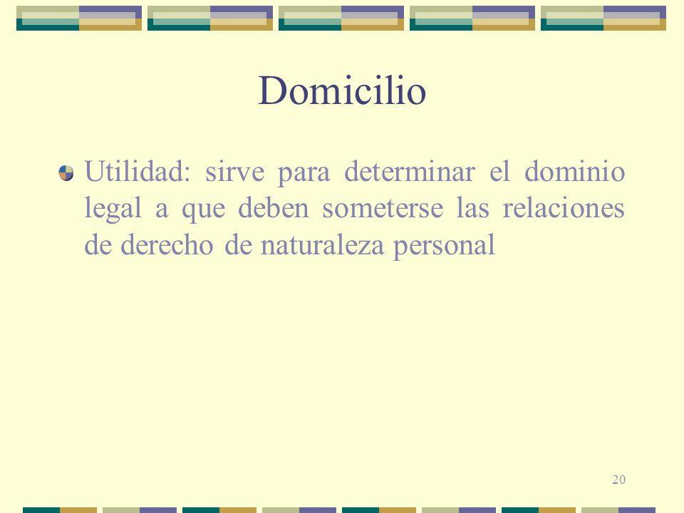20 Domicilio Utilidad: sirve para determinar el dominio legal a que deben someterse las relaciones de derecho de naturaleza personal