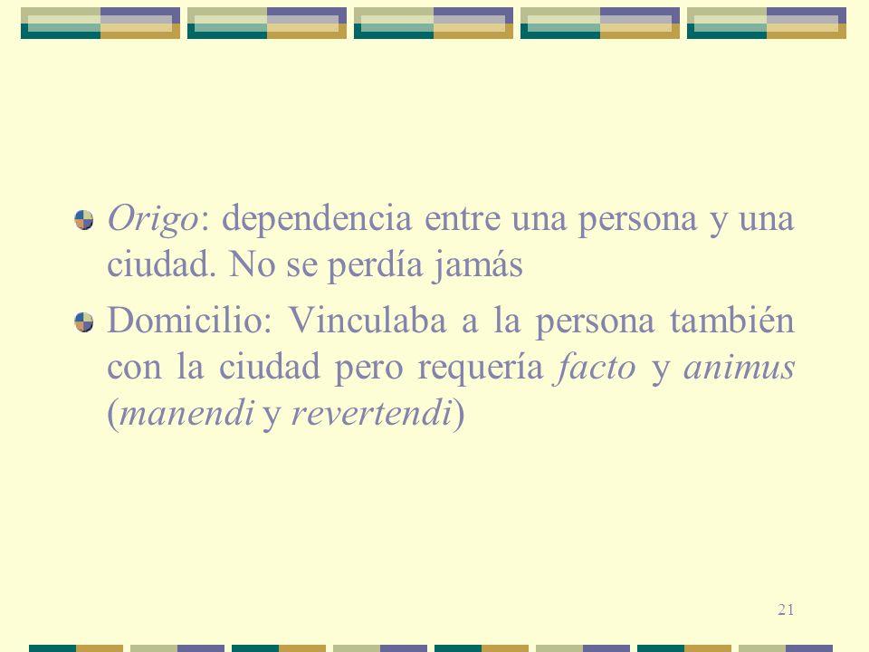 21 Origo: dependencia entre una persona y una ciudad.