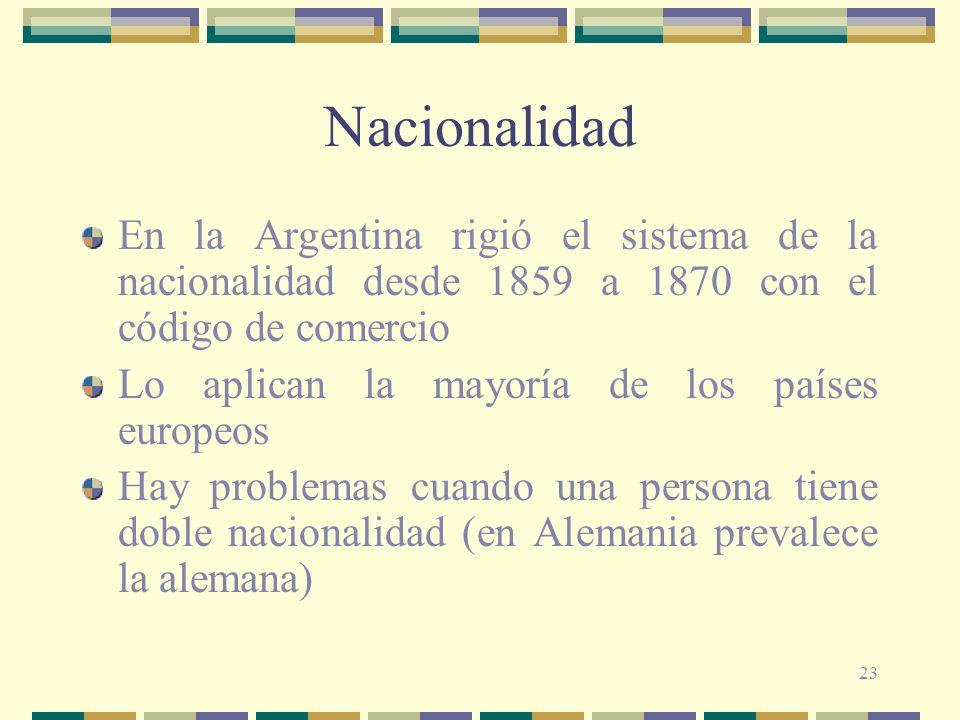 23 Nacionalidad En la Argentina rigió el sistema de la nacionalidad desde 1859 a 1870 con el código de comercio Lo aplican la mayoría de los países europeos Hay problemas cuando una persona tiene doble nacionalidad (en Alemania prevalece la alemana)