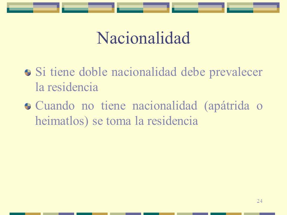 24 Nacionalidad Si tiene doble nacionalidad debe prevalecer la residencia Cuando no tiene nacionalidad (apátrida o heimatlos) se toma la residencia