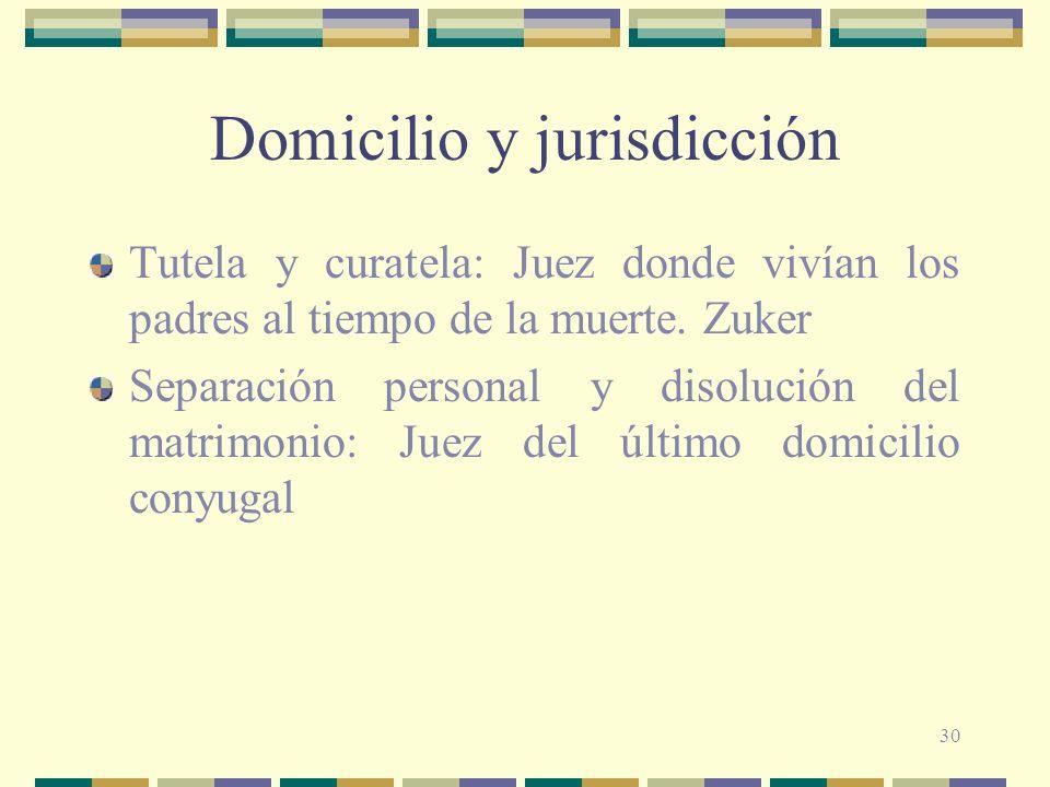 30 Domicilio y jurisdicción Tutela y curatela: Juez donde vivían los padres al tiempo de la muerte.