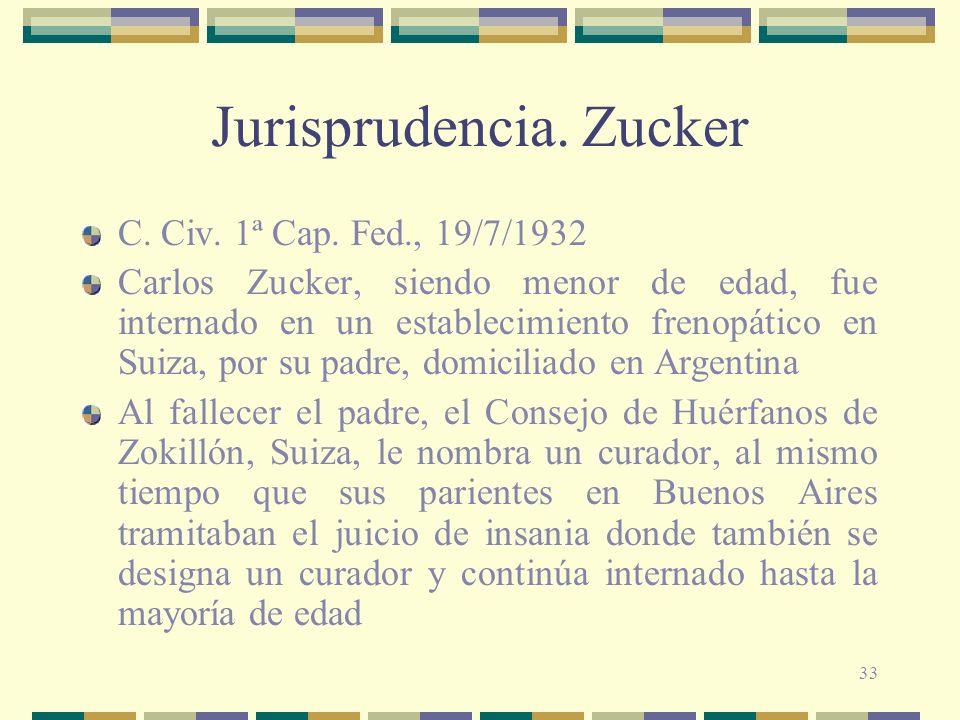 33 Jurisprudencia.Zucker C. Civ. 1ª Cap.
