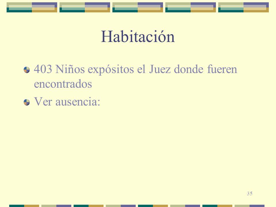 35 Habitación 403 Niños expósitos el Juez donde fueren encontrados Ver ausencia: