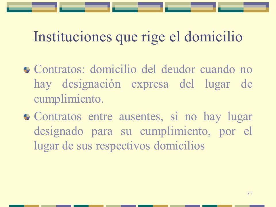 37 Instituciones que rige el domicilio Contratos: domicilio del deudor cuando no hay designación expresa del lugar de cumplimiento.