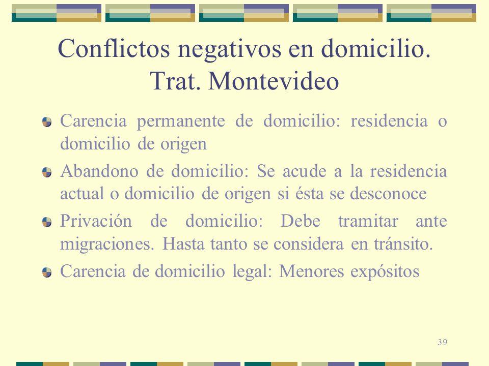 39 Conflictos negativos en domicilio.Trat.
