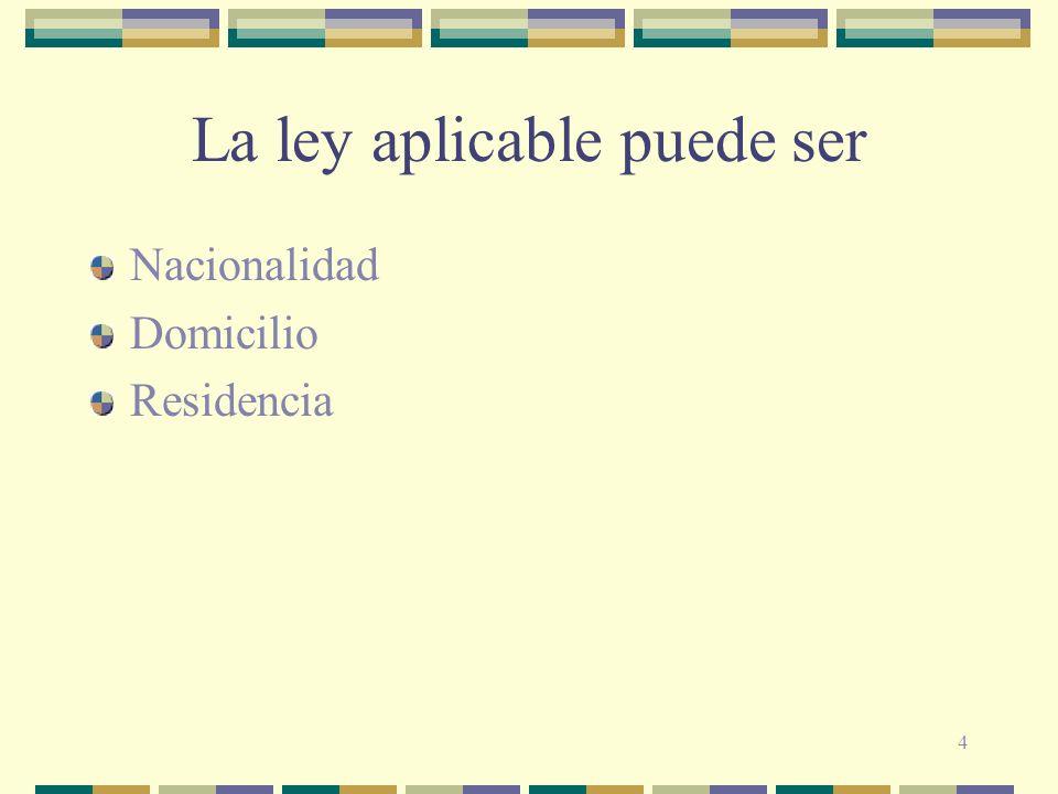 4 La ley aplicable puede ser Nacionalidad Domicilio Residencia