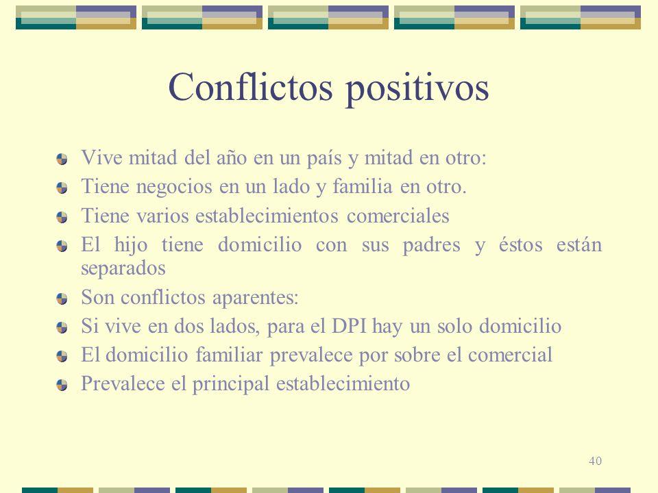 40 Conflictos positivos Vive mitad del año en un país y mitad en otro: Tiene negocios en un lado y familia en otro.