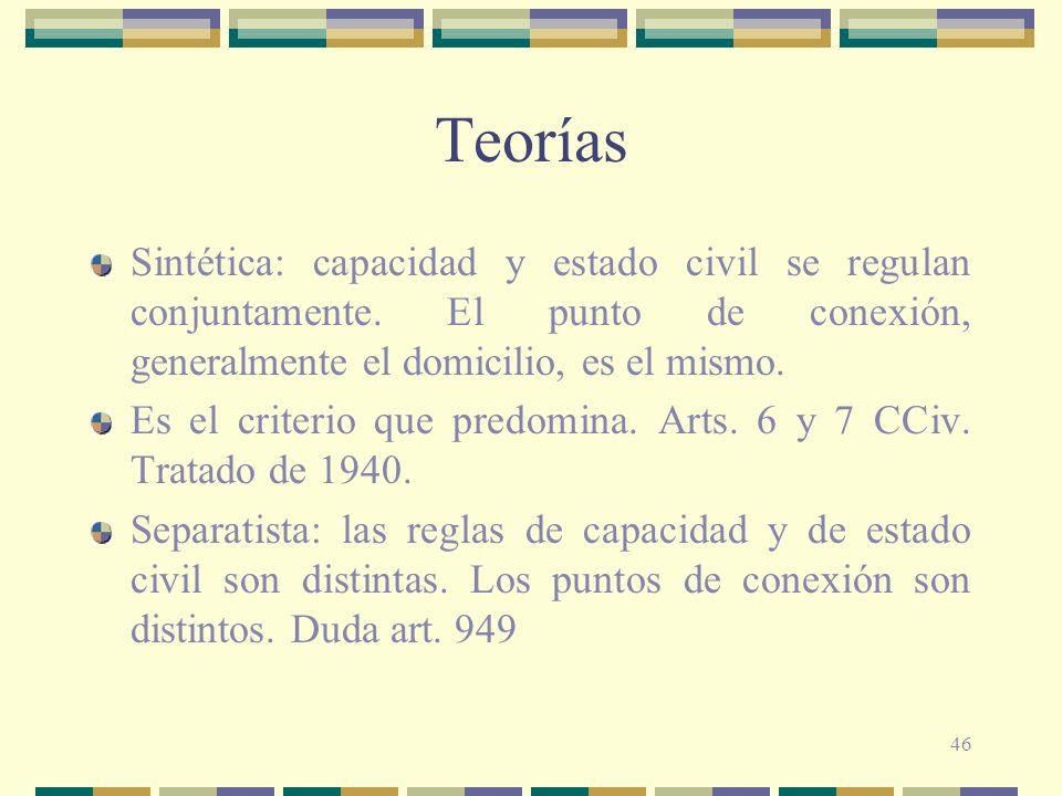 46 Teorías Sintética: capacidad y estado civil se regulan conjuntamente.
