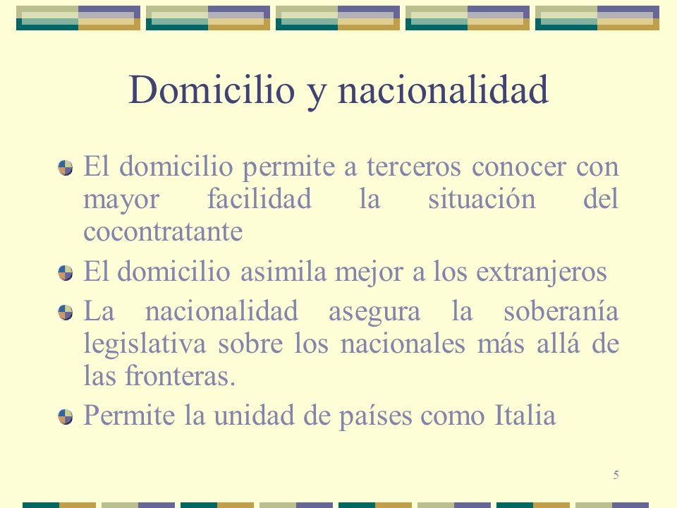 5 Domicilio y nacionalidad El domicilio permite a terceros conocer con mayor facilidad la situación del cocontratante El domicilio asimila mejor a los extranjeros La nacionalidad asegura la soberanía legislativa sobre los nacionales más allá de las fronteras.