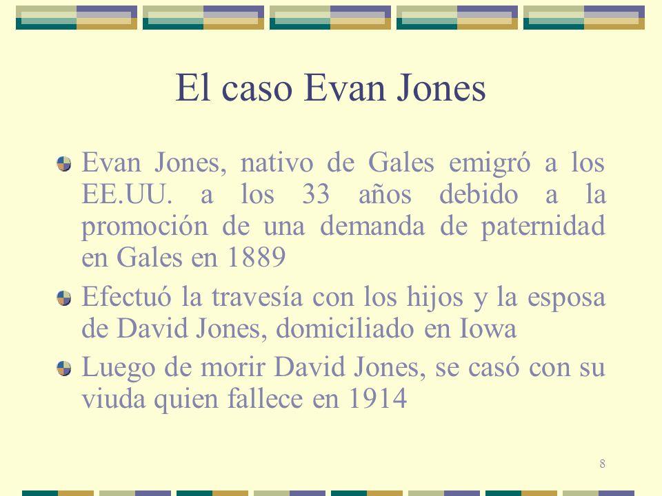 8 El caso Evan Jones Evan Jones, nativo de Gales emigró a los EE.UU.