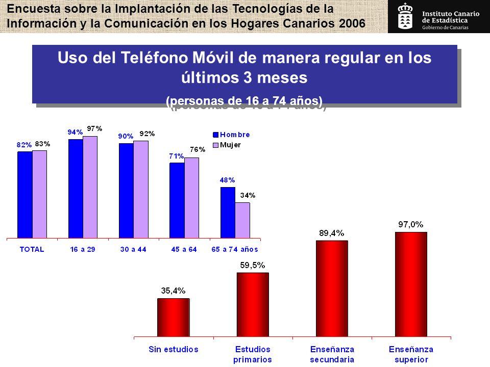 Encuesta sobre la Implantación de las Tecnologías de la Información y la Comunicación en los Hogares Canarios 2006 16 Uso del Teléfono Móvil de manera regular en los últimos 3 meses (personas de 16 a 74 años) Uso del Teléfono Móvil de manera regular en los últimos 3 meses (personas de 16 a 74 años)