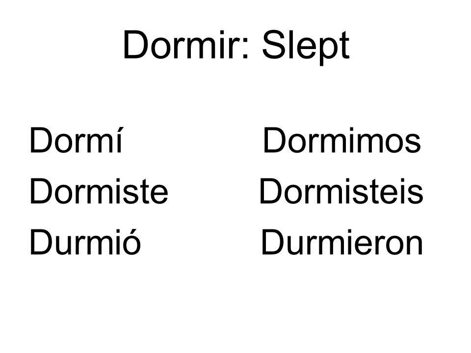 Dormir: Slept Dormí Dormimos Dormiste Dormisteis Durmió Durmieron