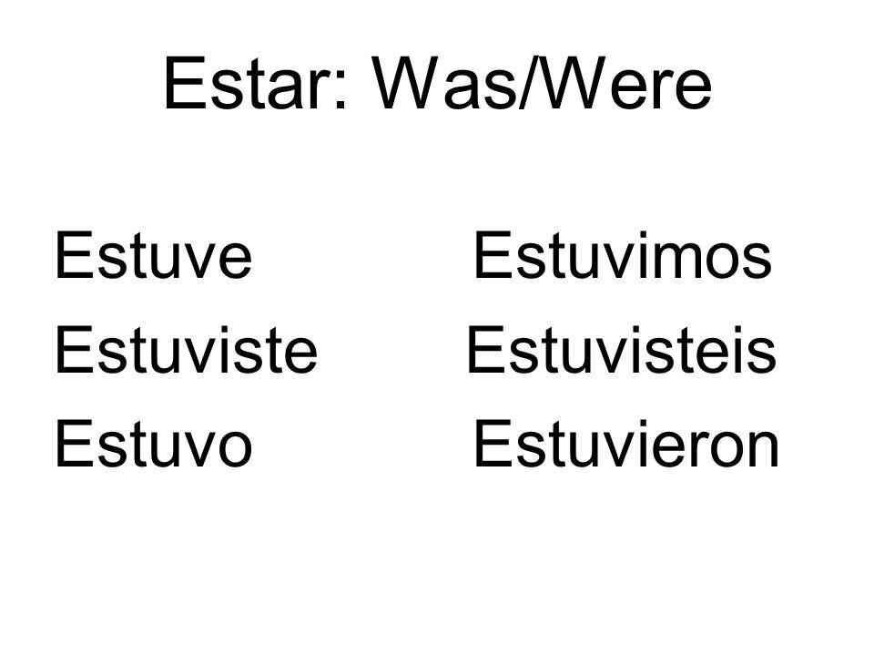 Estar: Was/Were Estuve Estuvimos Estuviste Estuvisteis Estuvo Estuvieron