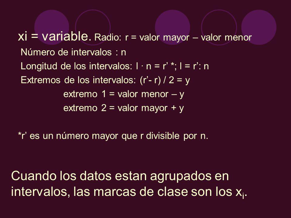 xi = variable. Radio: r = valor mayor – valor menor Número de intervalos : n Longitud de los intervalos: l · n = r *; l = r: n Extremos de los interva